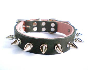 "3/4"" Soft Black Leather w/Peek-a-Boo Pink Inlay, Thick Leather Spiked Dog Collar with small tree spikes"