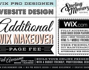 ADDITIONAL Page Fee for WIX MAKEOVER Wix Website Design Package - Wix Website Design Package Add-On - Wix WebDesign - Wix Pro Designer