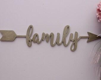 Arrow Word, Family Arrow, Wood Arrow Words, Arrow Word Art, Family Sign, Custom Arrow Sign, Home Decor, Gallery Wall Art, Feature Wall Decor