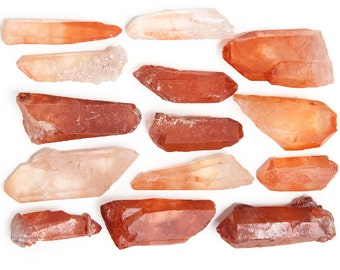 Digging Dolls: 3 pc Natural Red Quartz Point from Morocco - Very Rare Natural Light to Dark Red Colors - Completely Natural Crystals