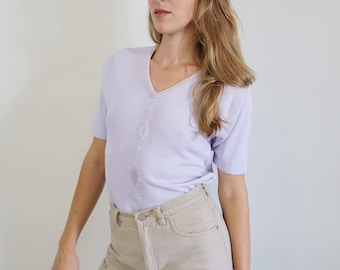 Vintage Knit Tee in Lilac with Beading
