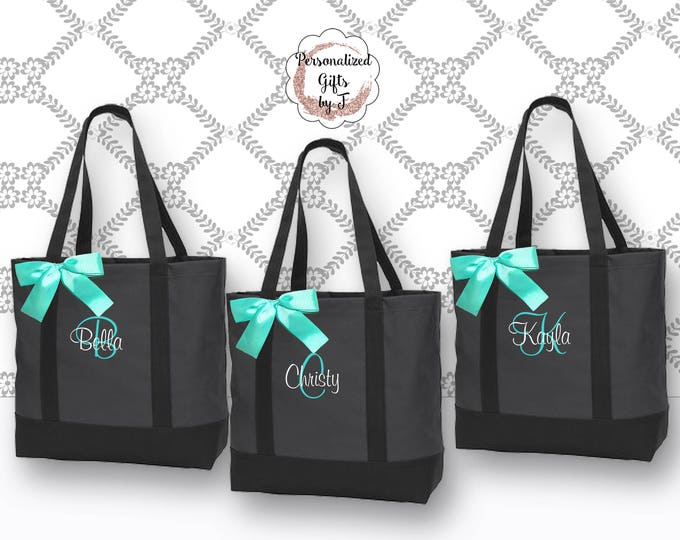 Personalized Tote Bags Personalized Tote, Bridesmaids Gift, Monogrammed Tote, MOH Tote Bag, Wedding Day Tote, Set of 1,2,3,4,5,6,7,8