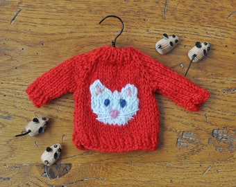 White Cat Hand-Knit Sweater Ornament