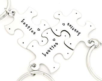Best Friends Key Chain Set - Besties Puzzle Piece Keychains - Best Friends Gift Set- Better When Together -Bridesmaid, BFF, My Missing Piece