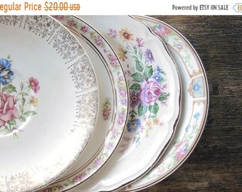 ON SALE Vintage Mismatched Farmhouse China Saucers Set of 4  Replacement China Bridal Luncheons Tea Party  Hostess Gift