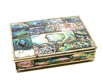 Abalone Alpaca Mexico Box, Redwood Lining, Raised Feet, Shell, Vintage Trinket, Keepsake Jewelry Box, Vintage Alpaca Mexican Folk Art, Boho