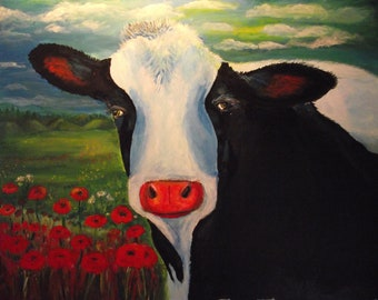 Sugar, A black and white cow painting