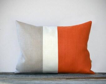 Orange Color Block Decorative Pillow Cover in Natural Linen with Cream Stripe by JillianReneDecor - Modern Home Decor