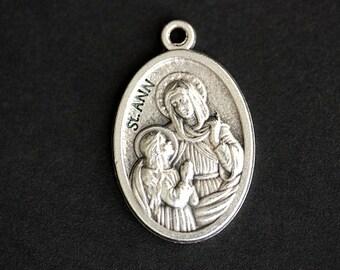 Saint Ann Medal. Catholic Pendant. St Ann Charm. Saint Ann Pendant. Catholic Saint Medal. 25mm x 16mm (Qty 1)