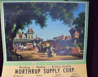 1959 Calendar, Paul Detlefsen, In Days Gone By, Northrup Supply Corp, train