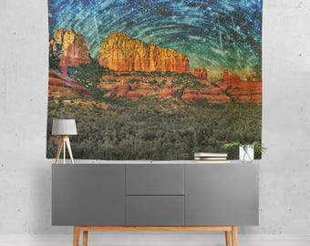 Sedona Desert Space Wall Tapestry, Energy Vortex, Alien Encounter Tapestry Night Sky Tapestry, Trippy Outer Space Tapestries, Sedona Arizona