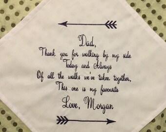 Personalize Wedding Keepsake Handkerchief with arrows