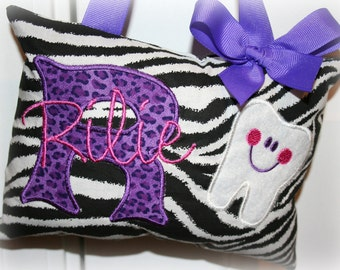 Tooth Fairy Pillow - Personalized - Zebra Print