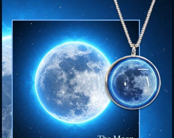 Blue Moon Pendant on Sterling silver medium curb chains