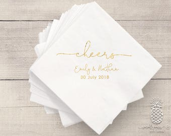 Cheers | Customizable Cocktail Wedding Napkins | Engagement Bridal Parties or Shower | social graces and Co
