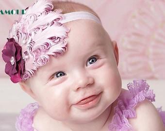 Headband, Baby Headband, Newborn Pictures, Feather Headband, Vintage Headband, Newborn Headband