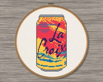 "La Croix Pamplemousse ""Grapefruit"" Soda Can - PDF Cross Stitch Pattern"