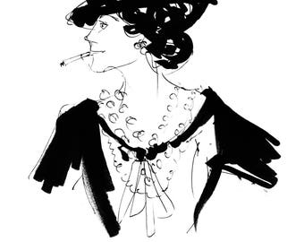 GABRIELLE (Coco) Art Print, Limited Edition, Fashion Illustration, Wall Art, Decor, Drawing, inspired by Coco Chanel.