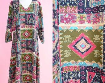 Vintage Parizad Kaftan Dress // 70s, Boho Chic, 1970s, Maxi Summer Dress, Women Size Small, Medium