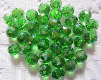 24  Medium Christmas Green AB Faceted Rondelle Crystal Beads  8mm x 6mm