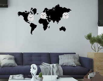 Large wall clock time zones world clock world map 100cm x big wall clock world map 3 time zones modern clock gift wall decoration wall decor large gumiabroncs Choice Image