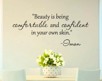 Beauty quote wall decals, Oman lettering wall sticker, home world removable vinyl wall art decor