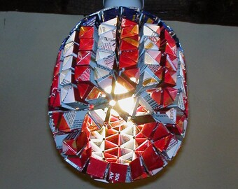 """""""Star and stripes"""" pendant made of recycled cans"""