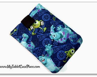 Handcrafted, Tablet Case, iPad Case, Monsters University, iPad Mini Case, Kindle Case, Tablet Sleeve, Cozy, Handmade, FOAM Padding, Gift