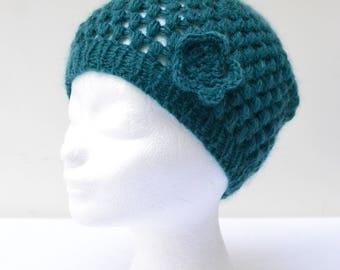 Petrol blue woolen crochet hat