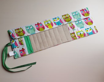 Case Needles Owls, holster needles, crochet needle holder, circular needles holster, Cables and accessories