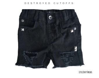 Black denim, black shorts, distressed shorts, ripped shorts, boys cutoffs, girls cutoffs, black distressed shorts