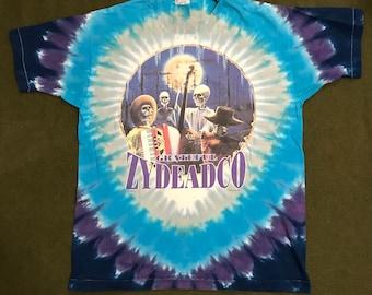Vintage 90's Grateful Dead Tour Shirt Spring 1995 Zydeadco Jerry Garcia Tye Dye Liquid Blue Shirt
