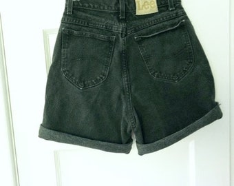 """Vintage 80s 90s High Waisted Black LEE Cut Off Jean Shorts 