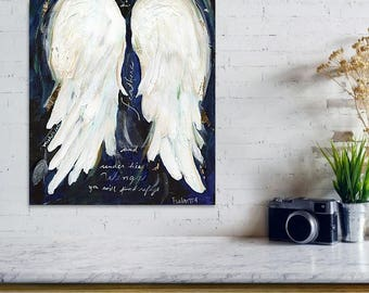 Psalm 91:4 Angel Wings Painting Print, Printable, Instant Download, Spiritual Art Wall Decor, Home Decor