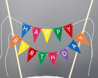 Happy Birthday Cake Banner Rainbow Bunting Topper Bright Photography