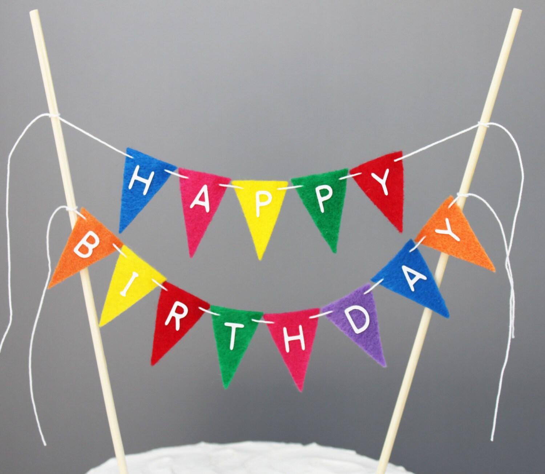Happy Birthday Cake Banner Rainbow Bunting Topper