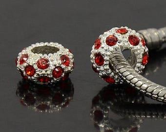 2 Charms: Red Rhinestones, beads European 11 x 6 mm