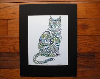 Cat kitty kitten Irish celtic knot green blue purple watercolor print, 11x14 print, animal painting, wall decor,