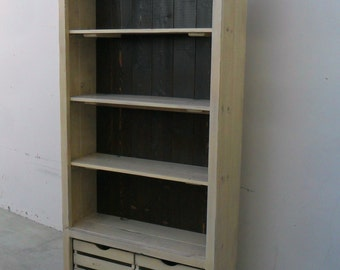 Bookcase, Book Shelves, Display Cabinet, Reclaimed Wood, China Cupboard, Rustic