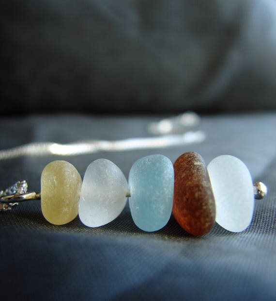 Sea Stack sea glass necklace in earth tones