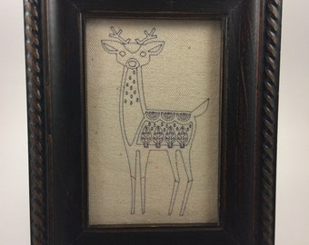 Deer drawing on canvas