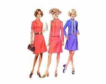 1970s Misses Dress and Jacket McCalls 2602 Vintage Sewing Pattern Half Size 16 1/2 Bust 39 UNCUT