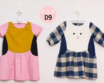 Girl's dress/ Girl's dress/ Kid's sewing pattern pdf/ Toddler dress/ color block dress/ Rabbit dress / girl's dress Size 2T-7years