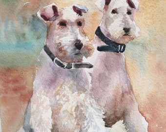 Fox Terrier  Pet portrait Original watercolor Dog memorial Personalized pet Dog portrait Dog art Dog gift  Dog artwork