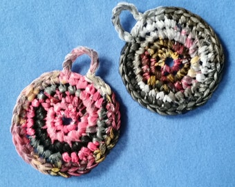 Two Multicolored Plarn Dish Scrubbies, recycled plastic bags, upcycled dish scrubby pot scrubbers