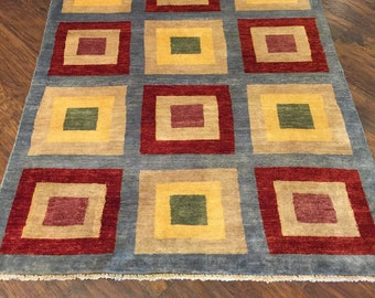 4 X 6 Modern Handmade Wool Rug Squares Red Yellow