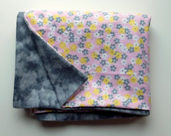 Gray with Pink and Flowers Baby Blanket
