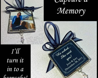Photo Ornament, Soldered Glass, Engagement Photo, He Asked She Said Yes, Swarovski Charm, Bridal Shower Gift, Memory Keepsake, Personalized