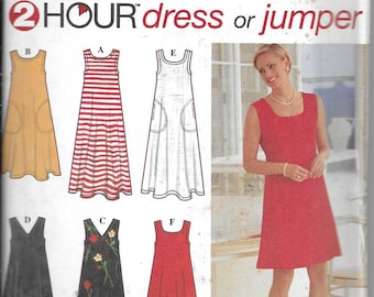 Vintage UNCUT Pattern Womens Dress-Jumper -6 Styles Round Neck V Neck,  -Simplicity 7116- 2 Hour series  - Dated 1996 -Sizes AA XS S M*