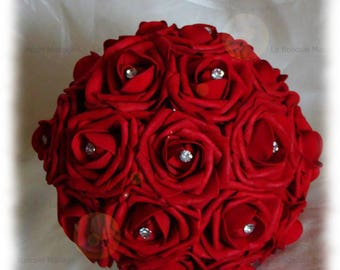 Bouquet red roses and diamond to customize